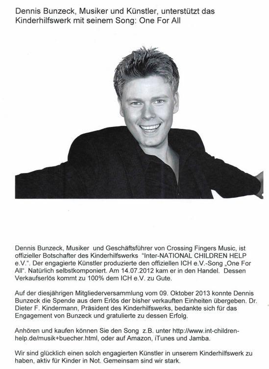 2013-10-16 Dennis Bunzeck, Musiker und Künstler, unterstützt das Kinderhilfswerk mit seinem Song One for all