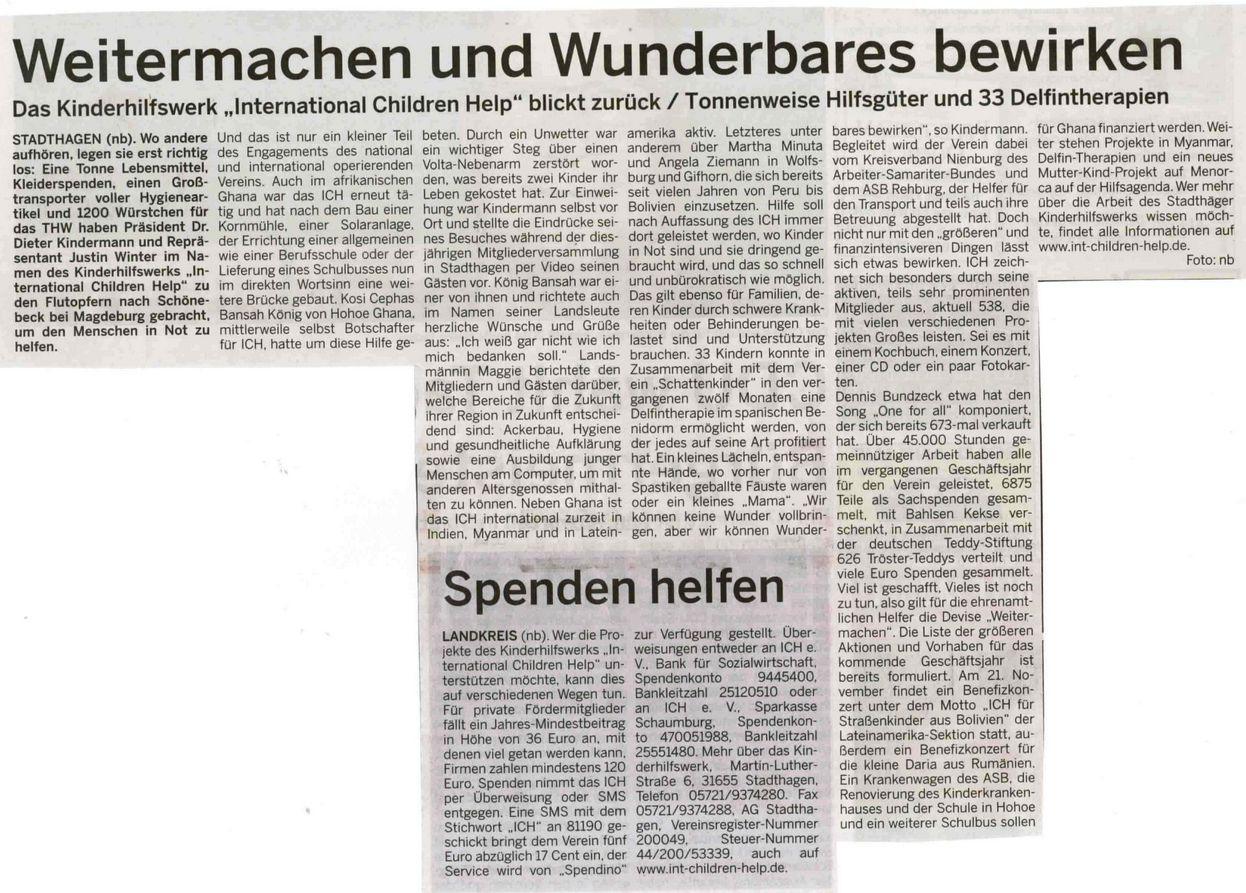 2013-10-23 Weitermachen und Wunderbares bewirken. Schaumburger Wochenblatt berichtet