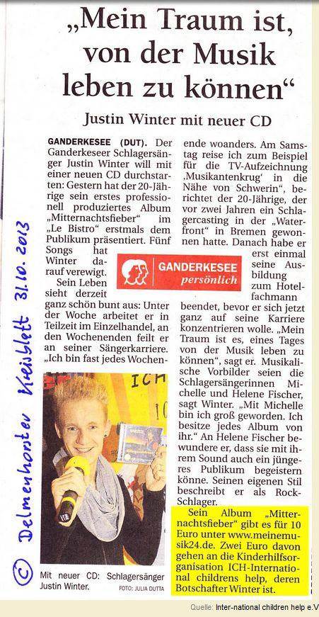 2013-11-05 Justin Winter mit neuer CD, Delmenhorster Kreisblatt berichtet