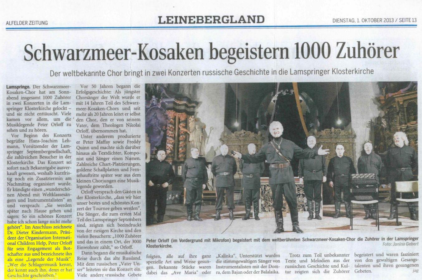2013-11-05 Peter Orloff begeistert mit dem weltberühmten Schwarzmeer-Kosaken-Chor