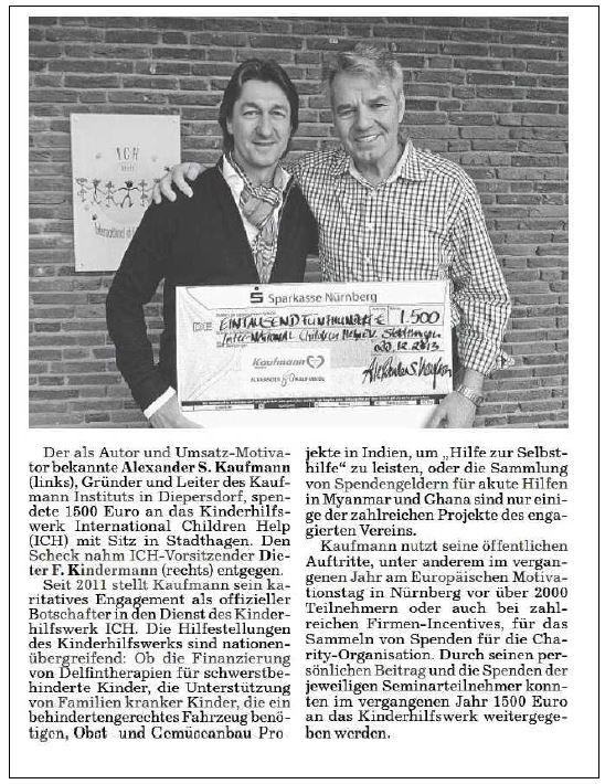 2014-02-11 Alexander Kaufmann sepndet 1500 Euro für ICH e.V.