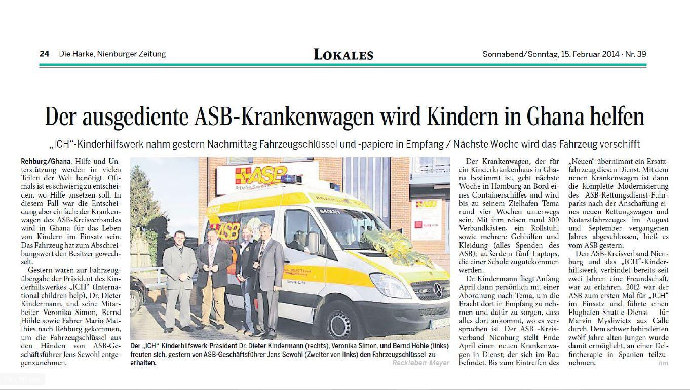 2014-02-24 ASB-Krankenwagen wird Kindern in Ghana helfen