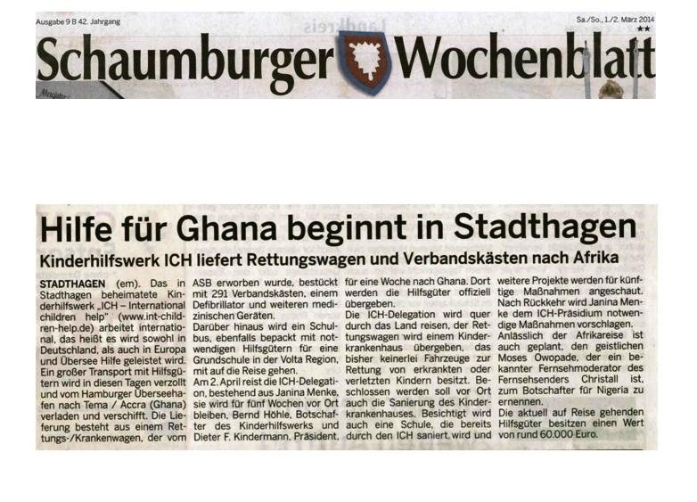 2014-03-03 Hilfe für Ghana beginnt in Stadthagen
