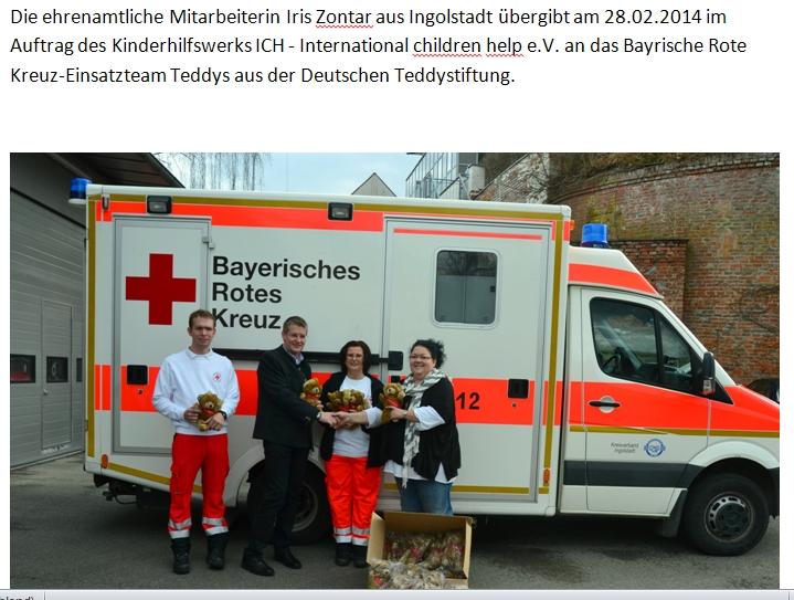 2014-03-03 Iris Zontar übergibt Teddys an das Bayrische Rote Kreuz Einsatzteam