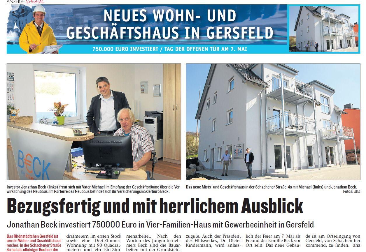 Jonathan Beck investiert 750000 Euro in Vier-Familien-Haus mit Gewerbeeinheit in Gersfeld