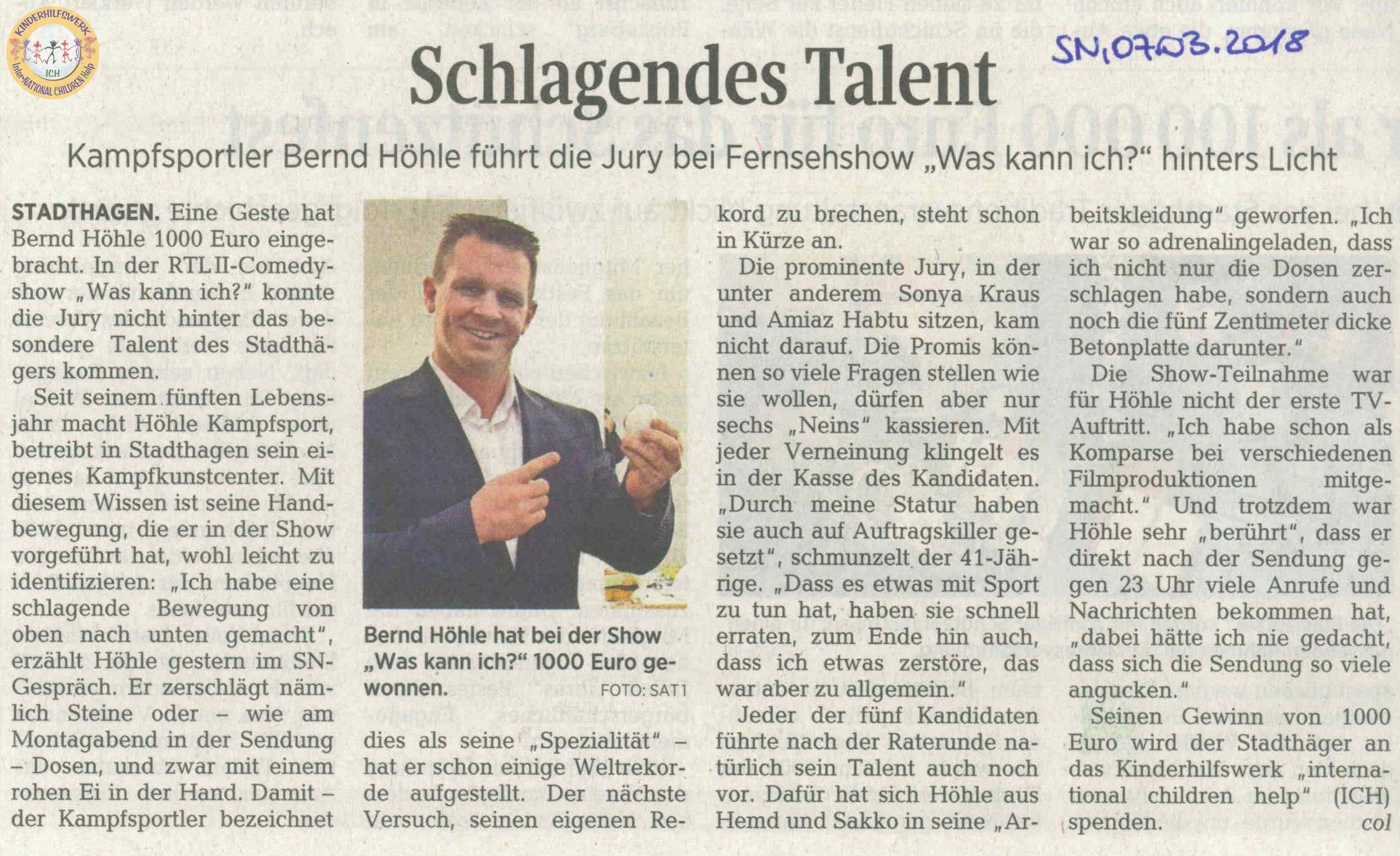 ICH - International children help e.V. - Stadthagen - Deutschland - www.ichev.de - Bernd Höhle Zeitungsartikel Schaumburger Nachrichten - RTL2