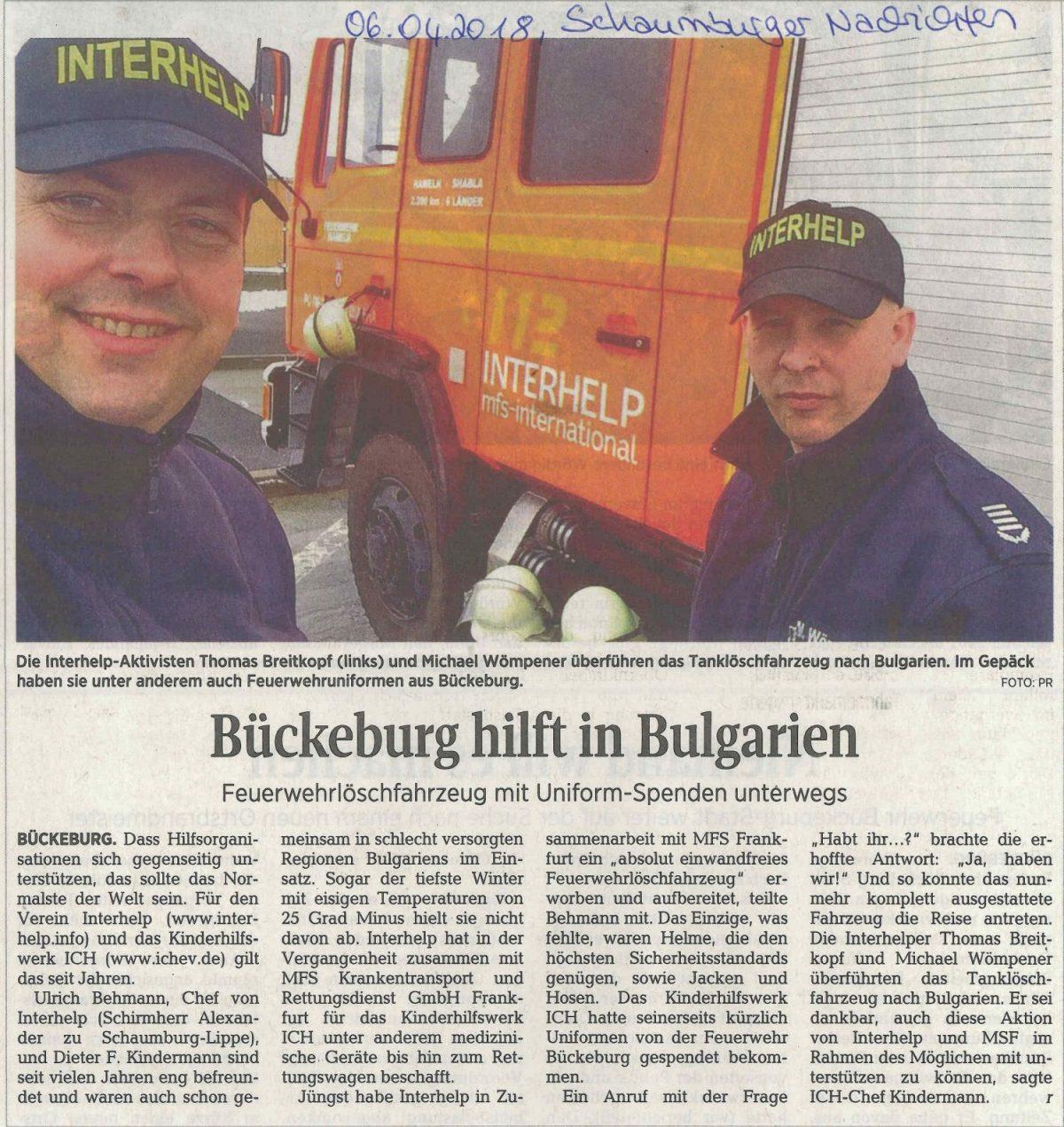 Bückeburg hilft in Bulgarien