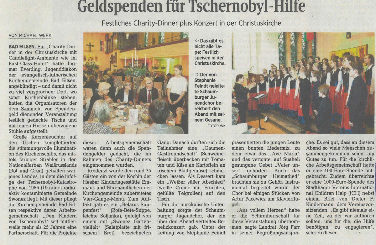 ICH e.V. unterstützt seit Jahren Tschernobyl-Aktivitäten der Kirchengemeinde Bad Eilsen