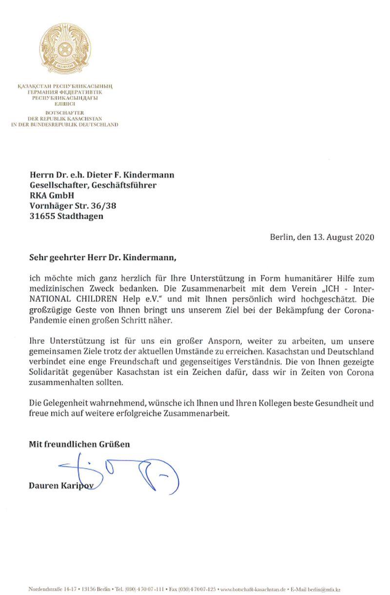 Dankesschreiben der Botschaft der Republik Kasachstan