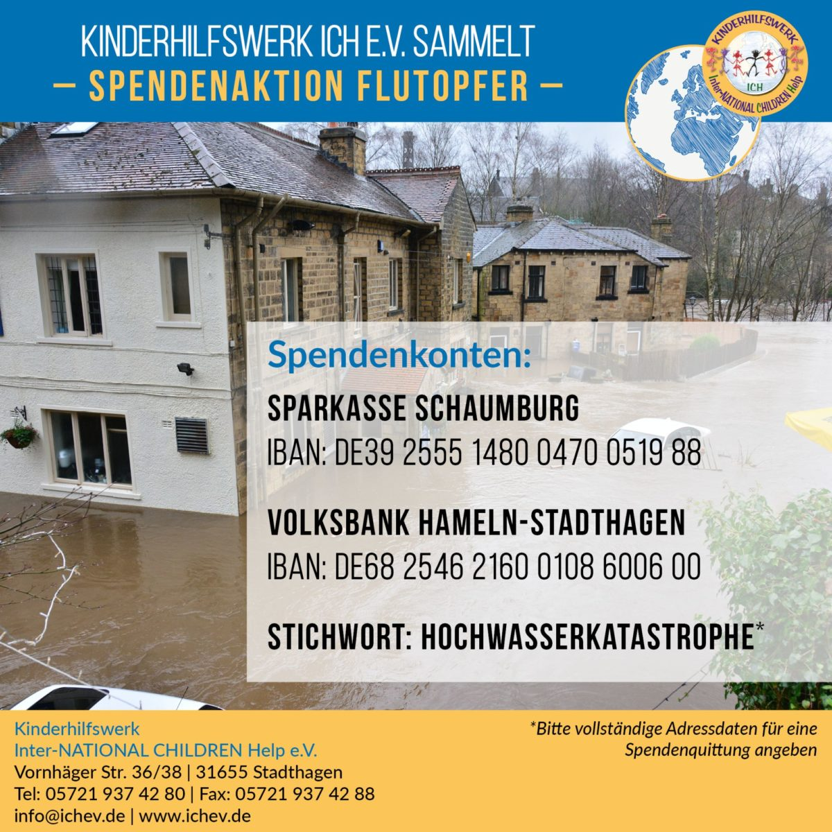 Kinderhilfswerk ICH e.V. sammelt Geld für Flutkatastrophe